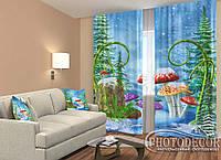 """Новорічні Фото Штори """"Гриби в снігу"""" 2,5 м*2,60 м (2 полотна по 1,30 м), тасьма, фото 1"""