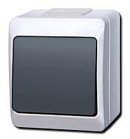 Наружный одноклавишный выключатель IP 44 Дымчатый,Белый