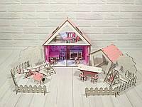 Кукольный Домик для кукол LOL LITTLE FUN + обои + шторки + мебель + текстиль + лестница + дворик