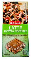 Шоколад молочный  с лесным орехом и изюмом Dolciando  Италия 200г