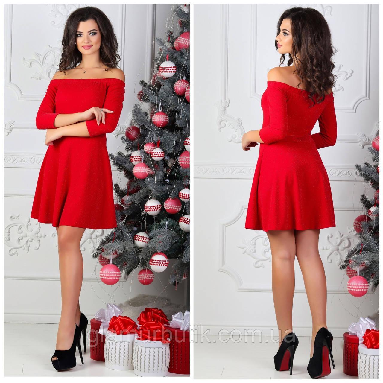 69c895a9e44 Нарядное выходное блестящее платье с люрексом и открытыми плечами красное  42 44 46
