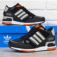 4a399cf07437a5 Кроссовки зимние кожаные на меху Adidas ZX 750 черные с оранжевым,  Оранжевый, 41