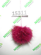 Меховой помпон Лиса, Тем. Малина, 8/11 см, 15311, фото 2