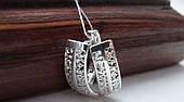 Серебряные серьги с родиевым покрытием