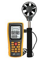 Анемометр Benetech GM8902+ (0.3-45m/s; 0-45ºC; 0-999900m3/min), USB, Пам'ять 50 з телескопічною ручкою, фото 1