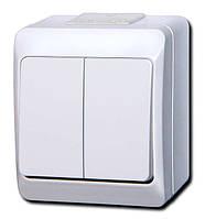 Наружный двухклавишный выключатель ЈNT-5 10A/250V IP 44 Дымчатый,Белый