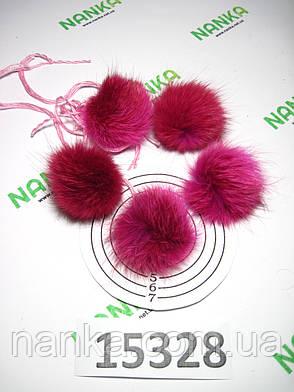 Меховой помпон Лиса, Малиново-розовые тона, 4/5 см, (5 шт) 15328, фото 2
