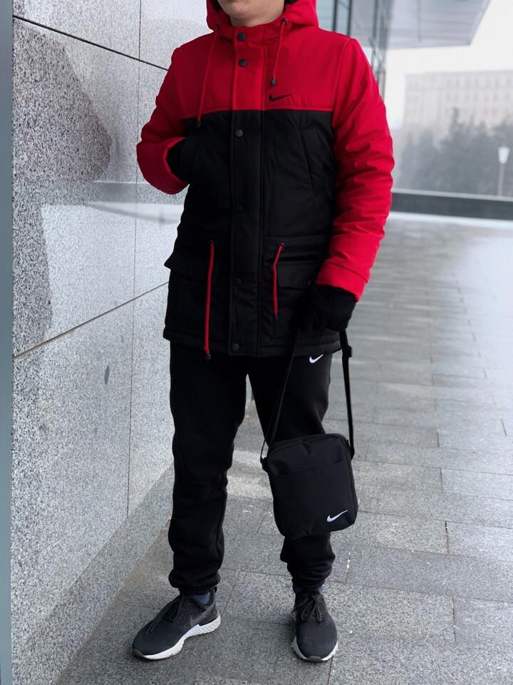 Мужской зимний спортивный комплект Nike (барсетка и перчатки в подарок), Реплика ААА