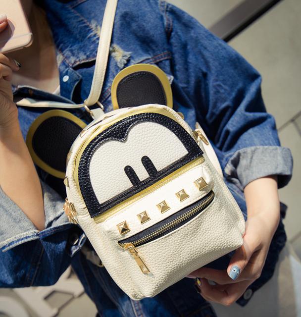 Рюкзак женский трансформер Mickey Mouse кожзам с ушками Бежевый