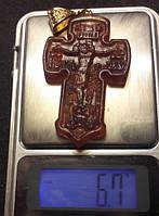 Крестик с подвесом из натурального янтаря вес 6,5г