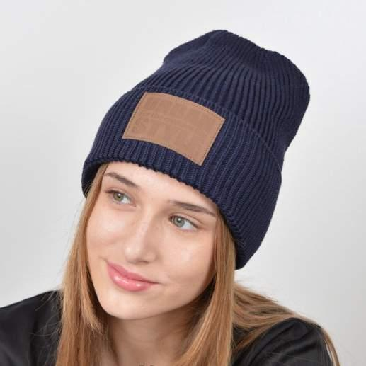 """Молодежная шапка """"Urban"""" с флисом темно синий"""