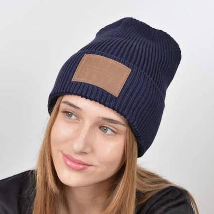 "Молодежная шапка ""Urban"" с флисом темно синий, фото 2"