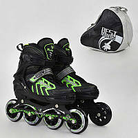 """Ролики 9015 """"M"""" Green - Best Roller /размер 35-38/ (6) колёса PU, без света, d=8.4см"""