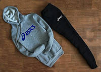 Зимний мужской спортивный костюм с капюшоном, зимний костюм на флисе Asics, Асикс (комби), Реплика6