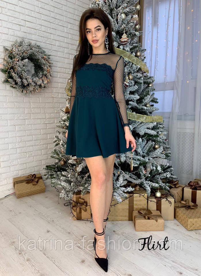 Женское платье сетка горох с кружевом (3 цвета)