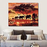 RUOPOTY Elephants Landscape DIY Цифровая живопись по номерам Современная картина на холсте из искусственного камня Уникальная G 1TopShop