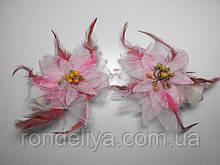 Заколки для штор белые с розовым
