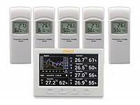Реєстратор температури і вологості MISOL WS-HP3001-8MZ з 5 виносними датчиками (-40 до 60°C; 10% to 99%) DWP, фото 1