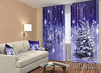 """Новогодние ФотоШторы """"Снегопад в ночном лесу""""2,5м*2,90м (2 полотна по 1,45м), тесьма, фото 1"""
