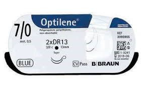 """Хірургічний шовний матеріал Оптилен 7/0 (0.5) 60 см, 2 кол. голки 10мм ТМ """"B. Braun"""""""