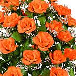Букет розкритих троянд з гіпсофілою, 67см (5 шт в уп), фото 2