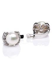 Сережки срібні з перлинами Е-304