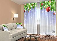 """Новогодние Фото Шторы """"Новогодний ламбрекен"""" 2,5м*2,90м (2 полотна по 1,45м), тесьма, фото 1"""