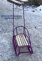 Санки Польские модель 2, с ручкой толкателем, фиолетовые, фото 1