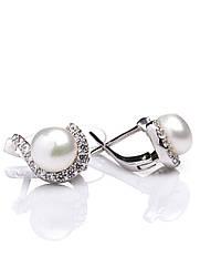 Сережки срібні з перлинами Е-346