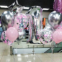 Композиция из гелиевых шариков на 1 годик. Гелиевые шары Троещина. Шары Киев.