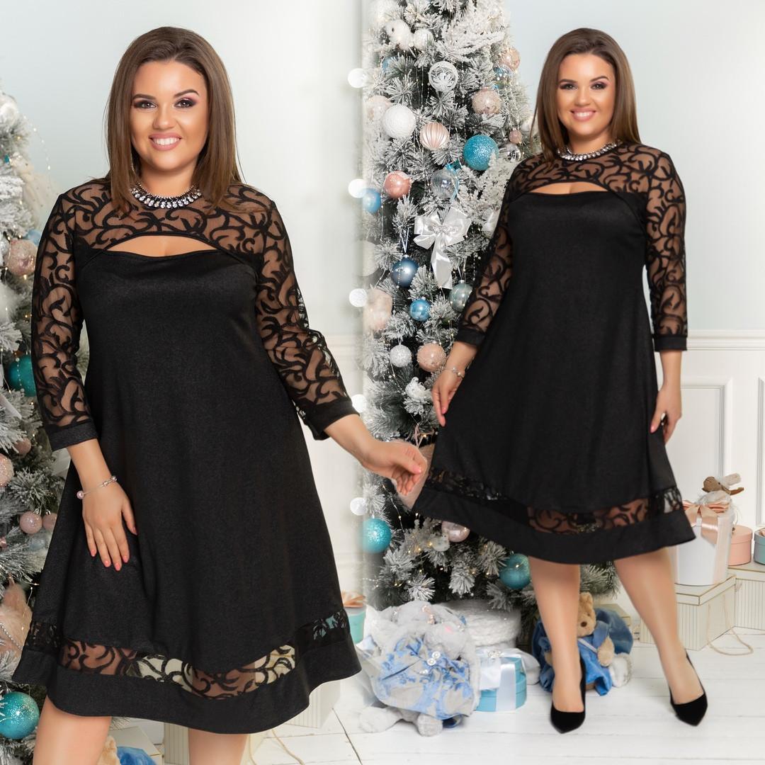 0880224dfeb2928 Нарядное и очень красивое женское платье с гипюром больших размеров 48-58  черное