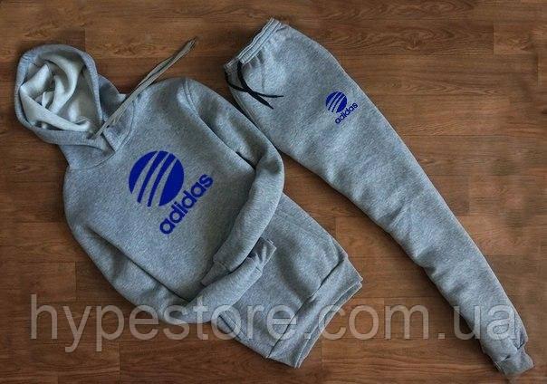 timeless design d98d5 ae0bc Зимний мужской спортивный костюм с капюшоном, костюм на флисе Adidas  Originals (серый),