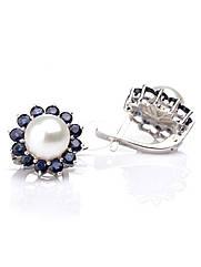 Сережки срібні з сапфіром і перлами Е-343
