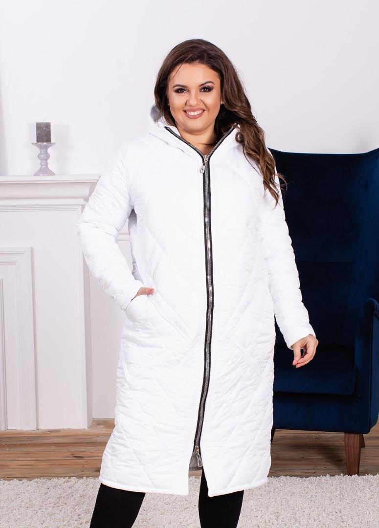 23a750e75e6 Женское зимнее пальто на синтепоне больших размеров белое  продажа ...