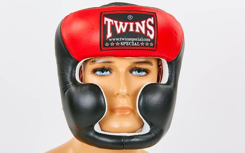 Шлем боксерский с полной защитой кожаный TWINS. Распродажа! Оптом и в розницу!