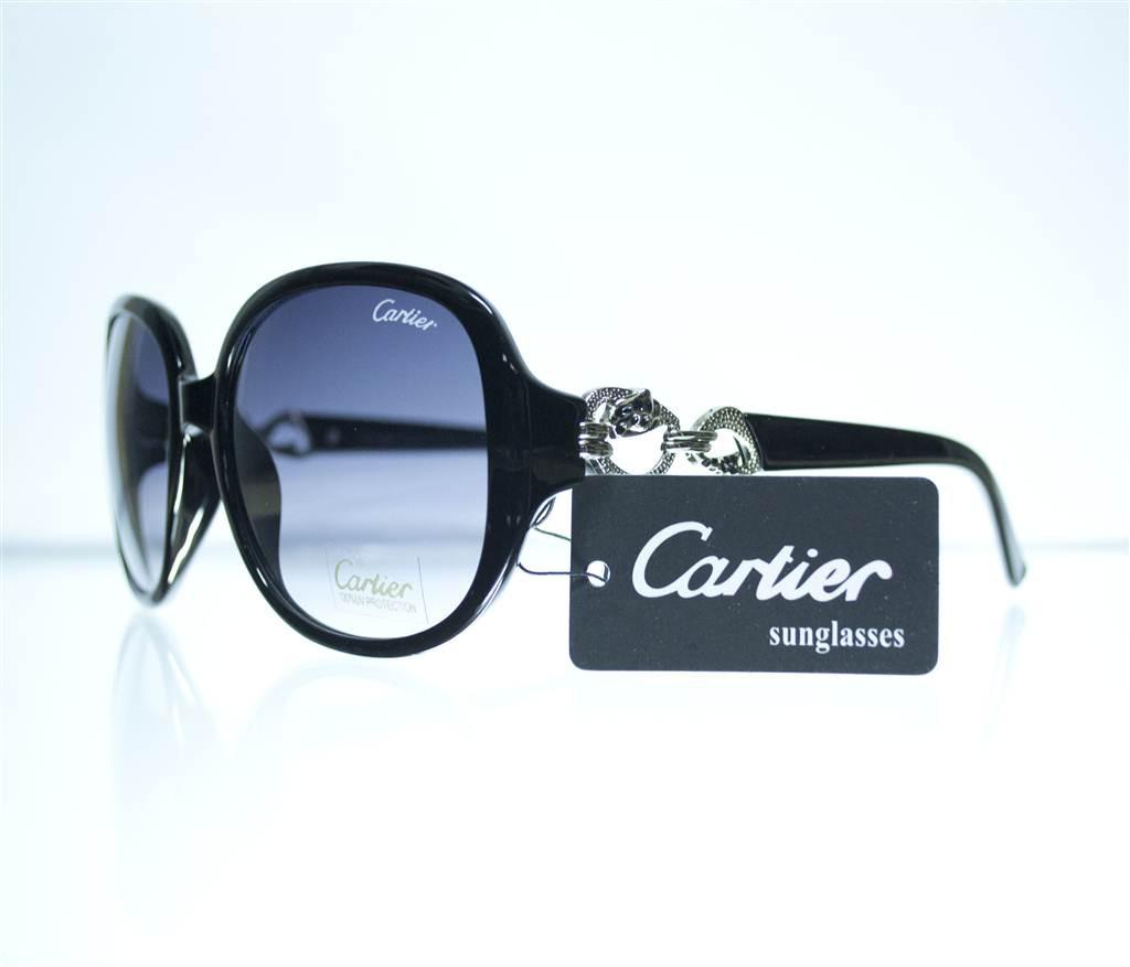 Очки женские Cartier солнцезащитные - Черные - 1312, фото 1