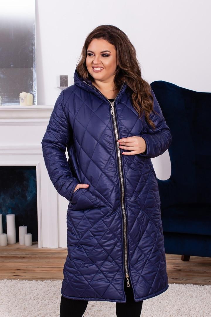 c2aaf0df061 Женское зимнее пальто на синтепоне больших размеров синее - Стильная женская  одежда оптом