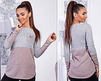 Тёплый женский ангоровый свитер туника с длинным рукавом двухцветный серый пудра 42 44 46 48, фото 1