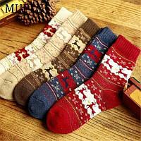 Носки к Рождеству с оленями шерсть