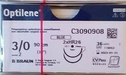 """Хірургічний шовний матеріал Оптилен 3/0 (2) 90 см, 2 кол. голки 17мм ТМ """"B. Braun"""""""