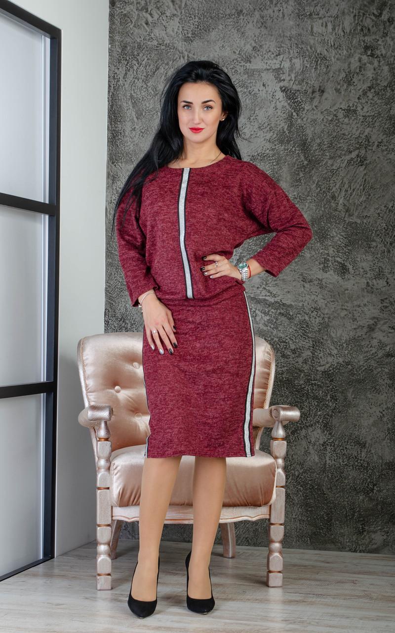 Женский костюм с юбкой карандаш бордовый