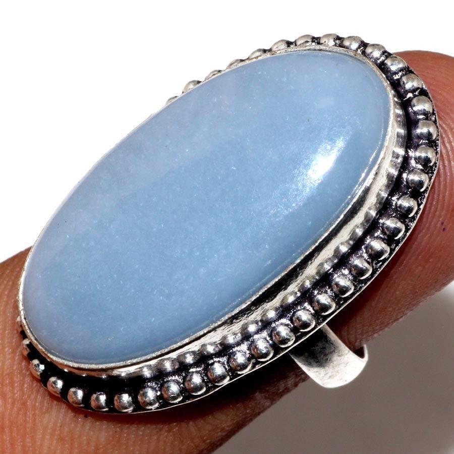 Красивое кольцо с камнем ангелит в серебре. Кольцо овальное с ангелитом. Размер 17-17,5. Индия