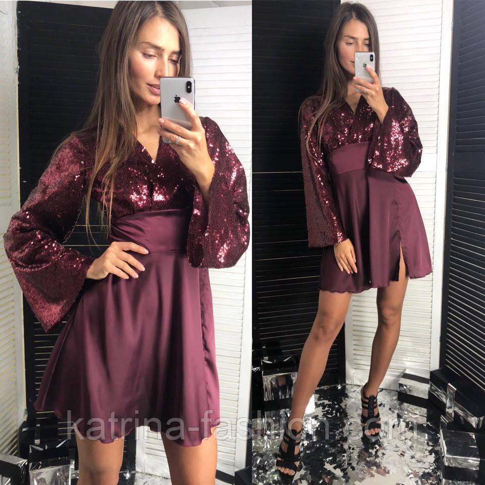 Женское праздничное платье пайетки и шелк (4 цвета)