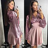 Женское праздничное платье пайетки и шелк (4 цвета), фото 6