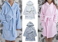 Пушистый детский халат. Детский махровый халатик с капюшоном. Теплый детский халатик.
