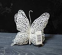 Бабочка на клипсе белая большая, фото 1