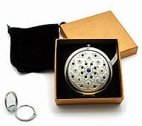 Зеркальце косметическое с камнями Серебро (в коробке + чехольчик)