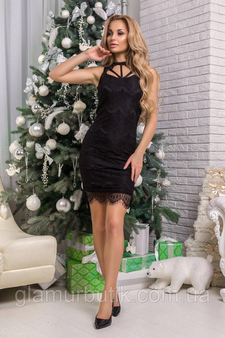 d3573dc454c Нарядное выходное вечернее кружевное платье с портупеей чёрное 42-44 44-46