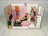 Кукольный Домик для кукол (ляльковий будинок) ROOMBOX №1 Квартира-студия + мебель + обои + шторки + текстиль
