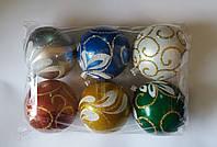 """Игрушка елочная """"Шар разноцветный с узорами"""" (диаметр 8 см, упаковка 6 шт), фото 1"""